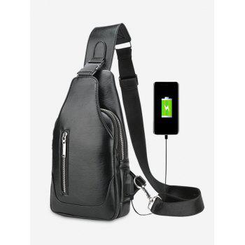 Faux Leather Chest Bag With USB Charging Port - BLACK BLACK