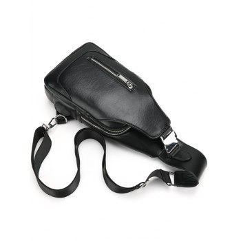 Faux Leather Chest Bag With USB Charging Port -  BLACK