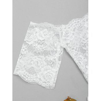 Lace Tube Bra Set with Sleeve - WHITE L