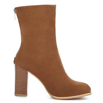 Almond Toe High Heel Boots - BROWN 39