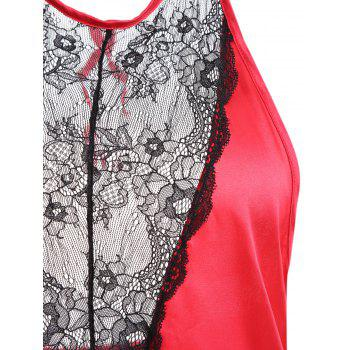 Backless Lace Insert Satin Babydoll - RED S