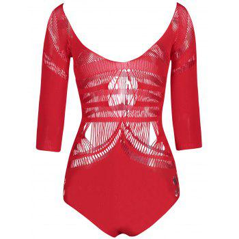 Backless V Neck Openwork Bodysuit - RED ONE SIZE