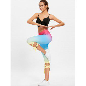 Ombre Color Lace Up High Waisted Gym Pants - COLORMIX COLORMIX