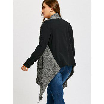 Plus Size Cable Panel Color Block Coat - BLACK/GREY XL