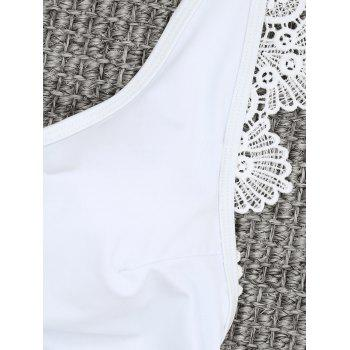 Backless One Piece Lace Trim Swimsuit - WHITE M