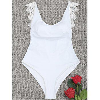 Backless One Piece Lace Trim Swimsuit - WHITE S