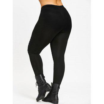Plus Size Galaxy Ripped Skinny Leggings - BLACK XL