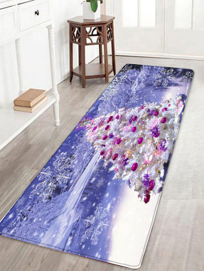Christmas Tree Snowscape Print Flannel Skidproof Bath Mat bathroom flannel skidproof shore scenery mat