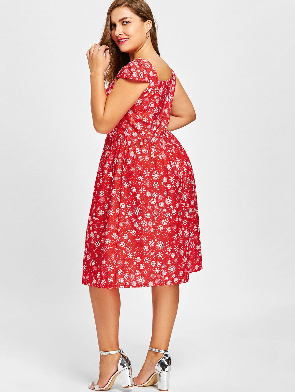 Plus Size Christmas Snowflake Sweetheart Dress - RED 5XL