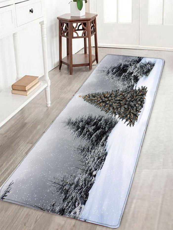 Skidproof Flannel Christmas Snowscape Print Bath Rug - GRAY W16 INCH * L47 INCH
