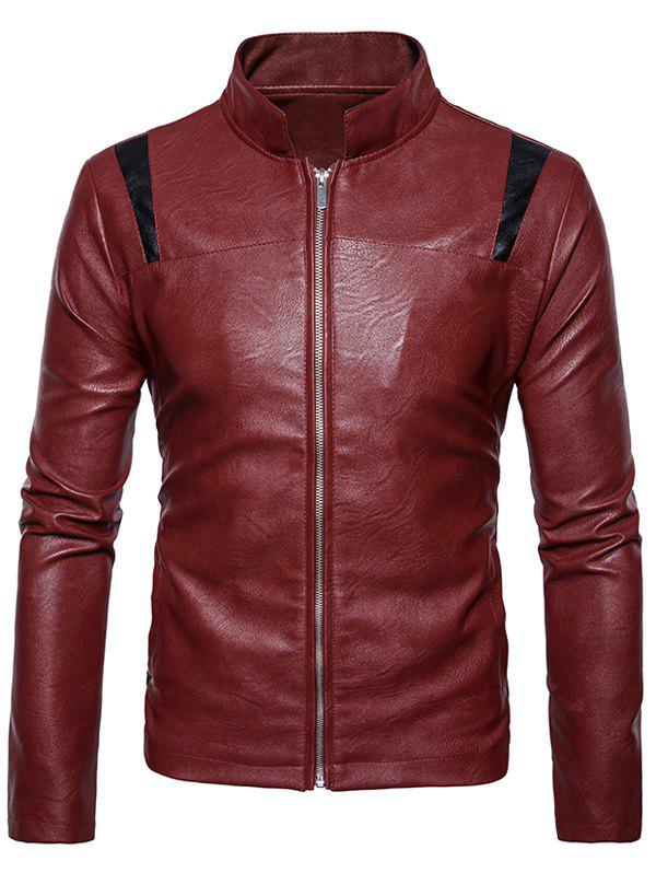 Color Block Panel Zip Up PU Leather Jacket pu leather and corduroy spliced zip up down jacket