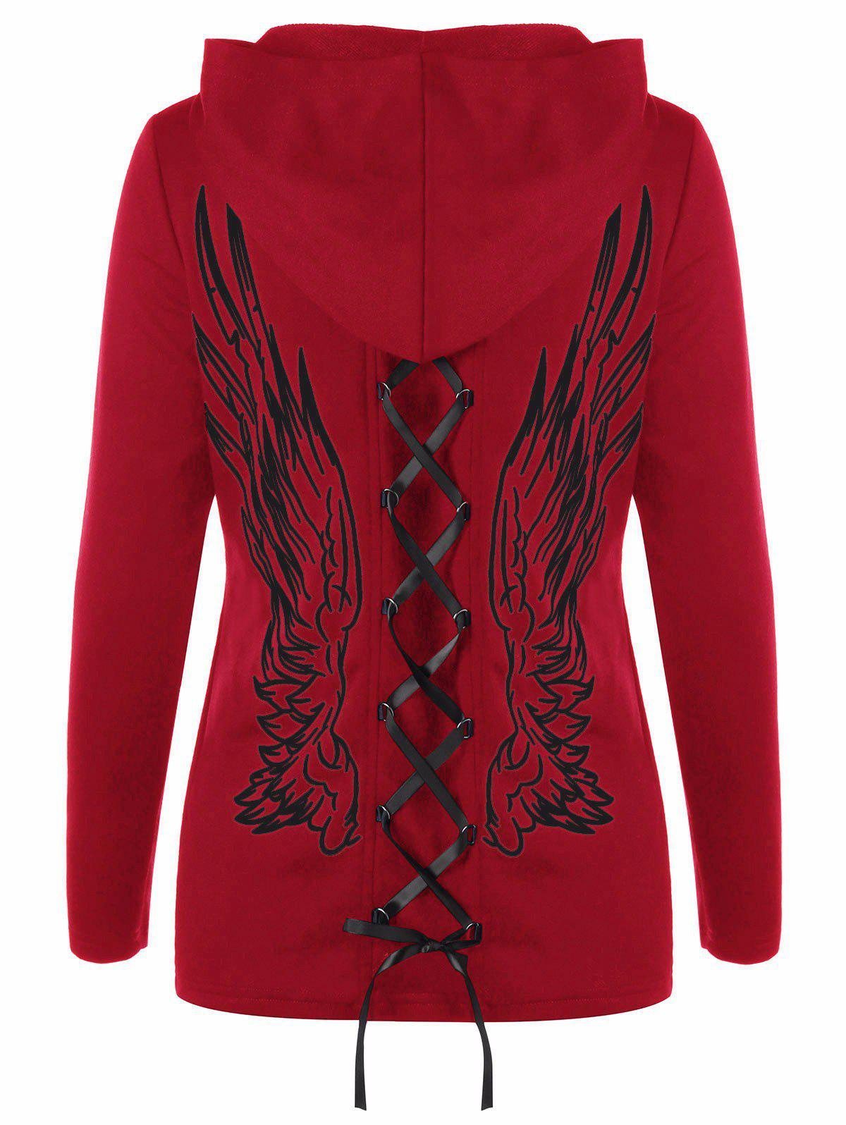 Double Lace-up Wings Print Zip Up Hoodie lace up hoodie