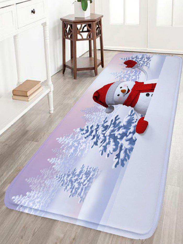 Christmas Snowscape Snowman Print Antiskid Flannel Bath Rug christmas gift snowman snowscape print wall tapestry