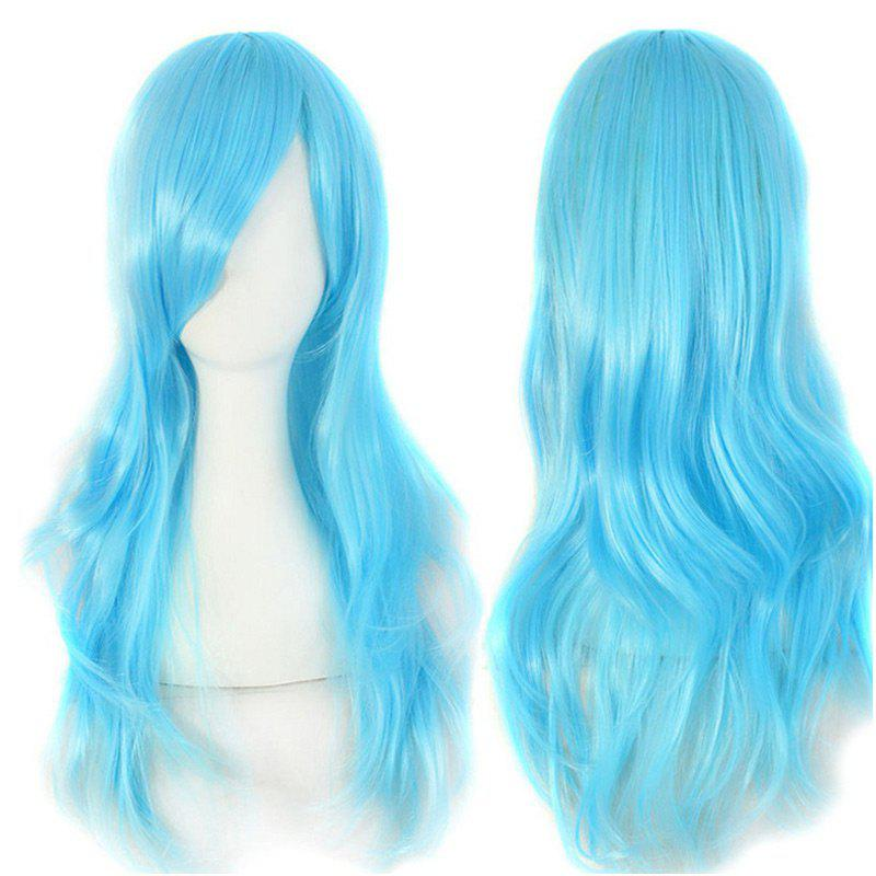 Long Side Bang Wavy Synthetic Cosplay Wig - AZURE