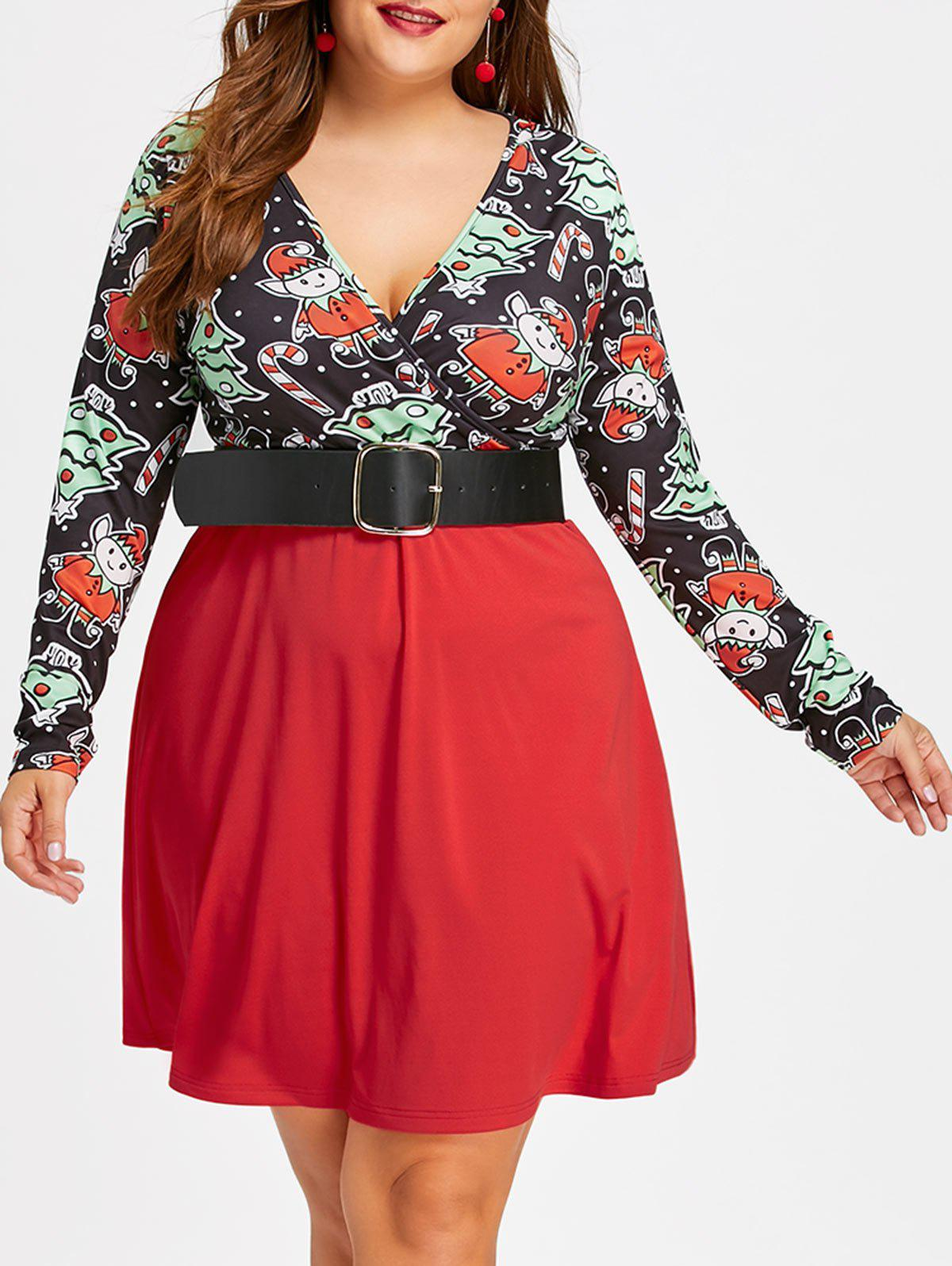 2018 christmas plus size candy cane skater dress red xl in plus