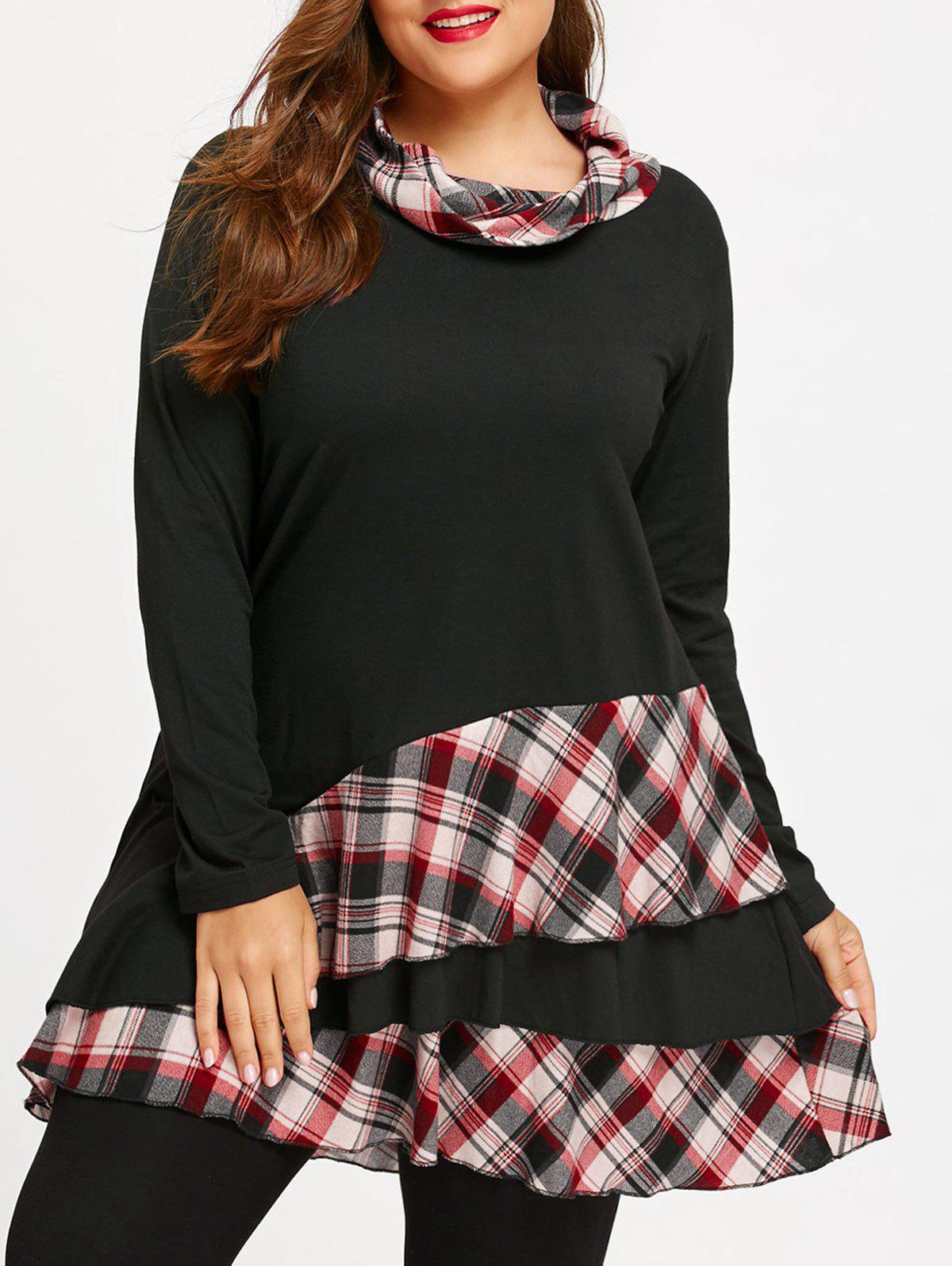 Plus Size Cowl Neck Plaid Panel Flounce Tunic Top marled plaid cowl neck top