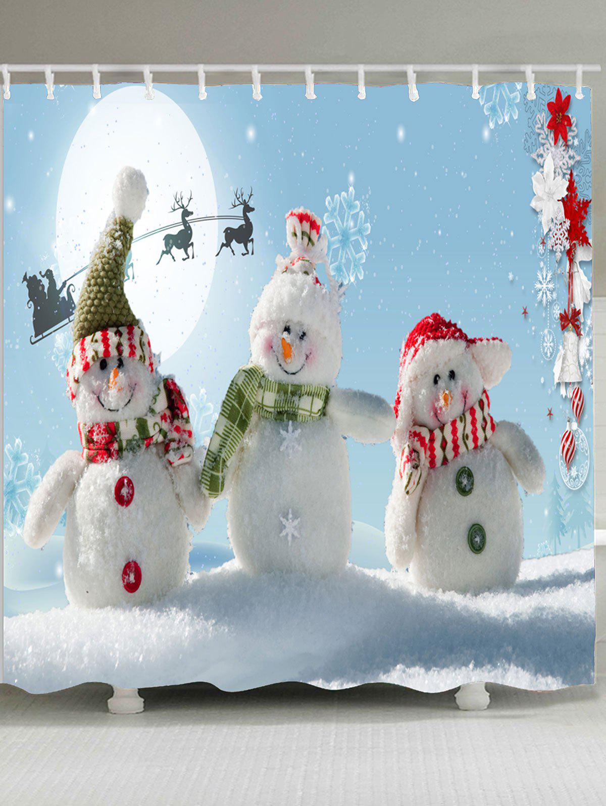 2018 Christmas Snowman Family Patterned Shower Curtain BLUE/WHITE W ...