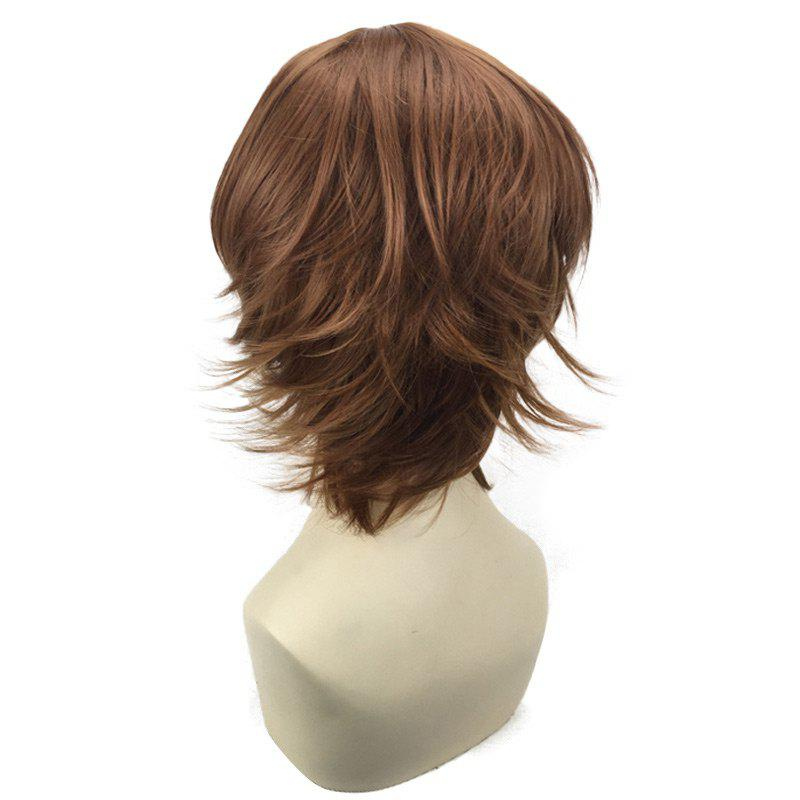 Short Oblique Bang Straight Synthetic Cosplay Wig - COFFEE
