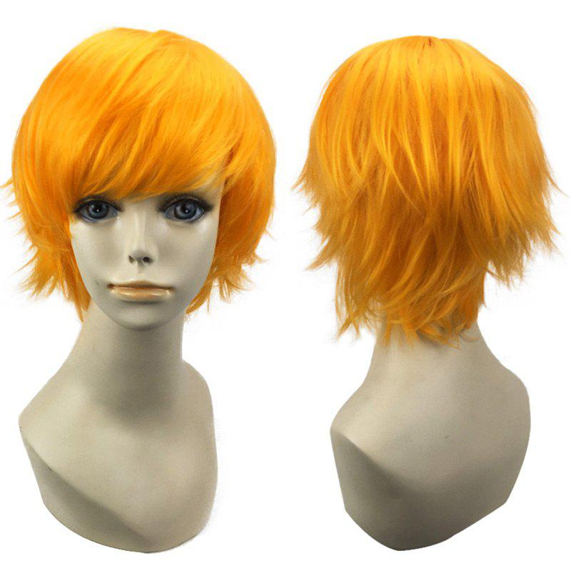 Short Oblique Bang Straight Synthetic Cosplay Wig - YELLOW
