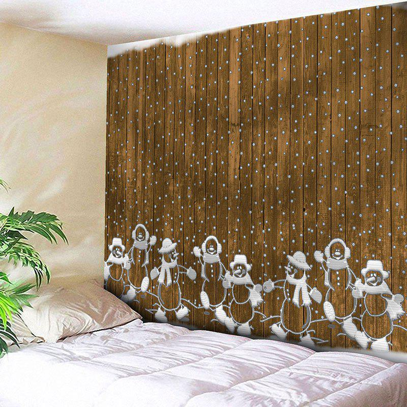 Christmas Wooden and Snowman Printed Waterproof Wall Art Tapestry