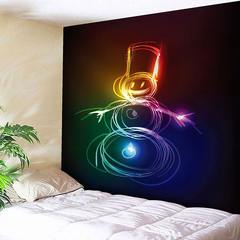 Christmas Colored Snowman Patttern Wall Art Tapestry christmas tree snowman printed wall tapestry