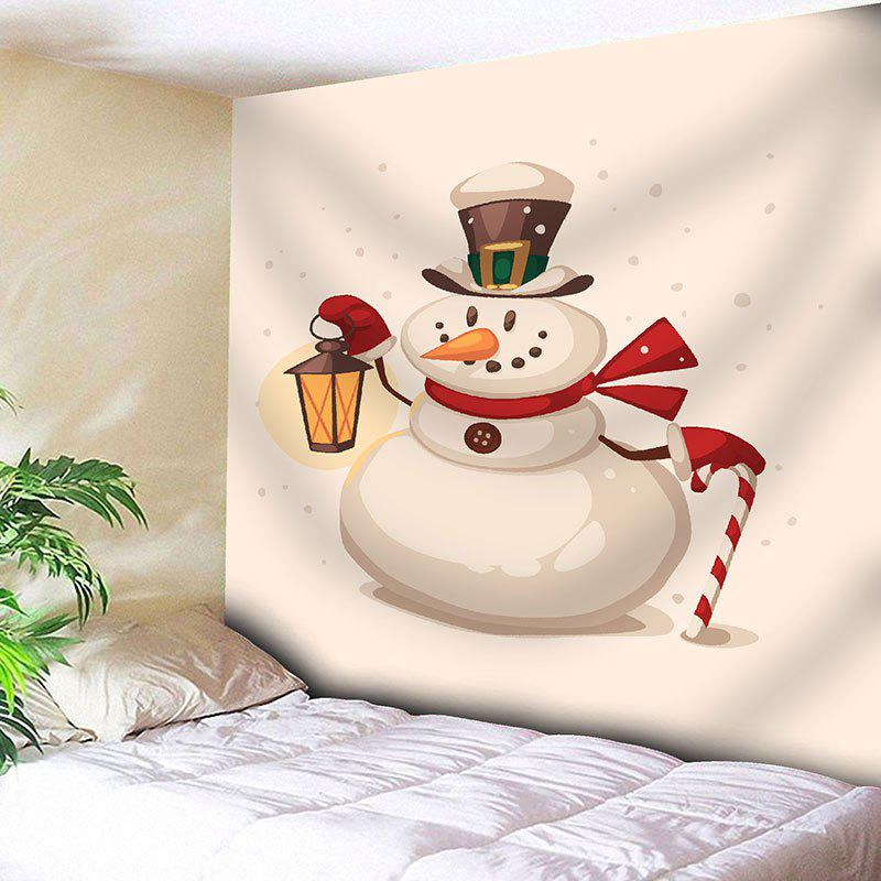 Funny Christmas Snowman Printed Waterproof Wall Tapestry - OFF WHITE W59 INCH * L59 INCH