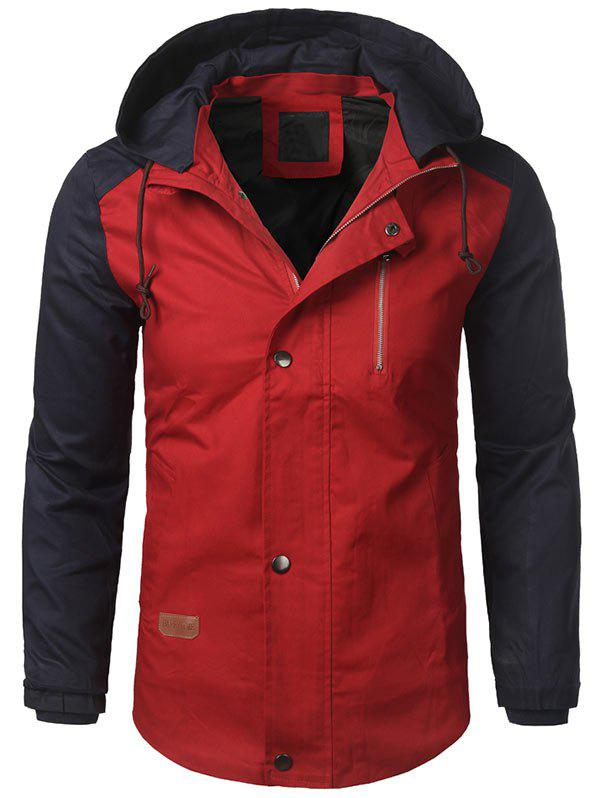 Zip Up Two Tone Hooded Casual Jacket two tone hooded patched casual jacket