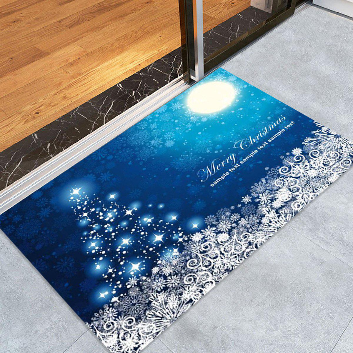 Sparkling Christmas Tree Snowflake Print Nonslip Fleece Bath Mat - BLUE W16 INCH * L24 INCH