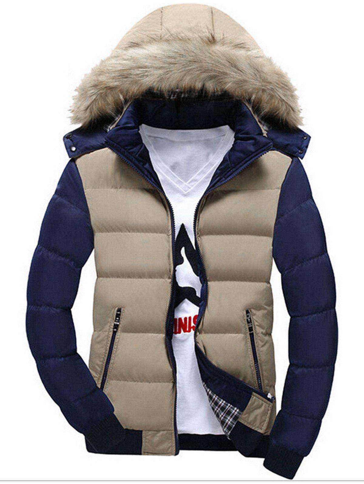 Color Block Faux Fur Hood Puffer Jacket faux fur collar puffer jacket
