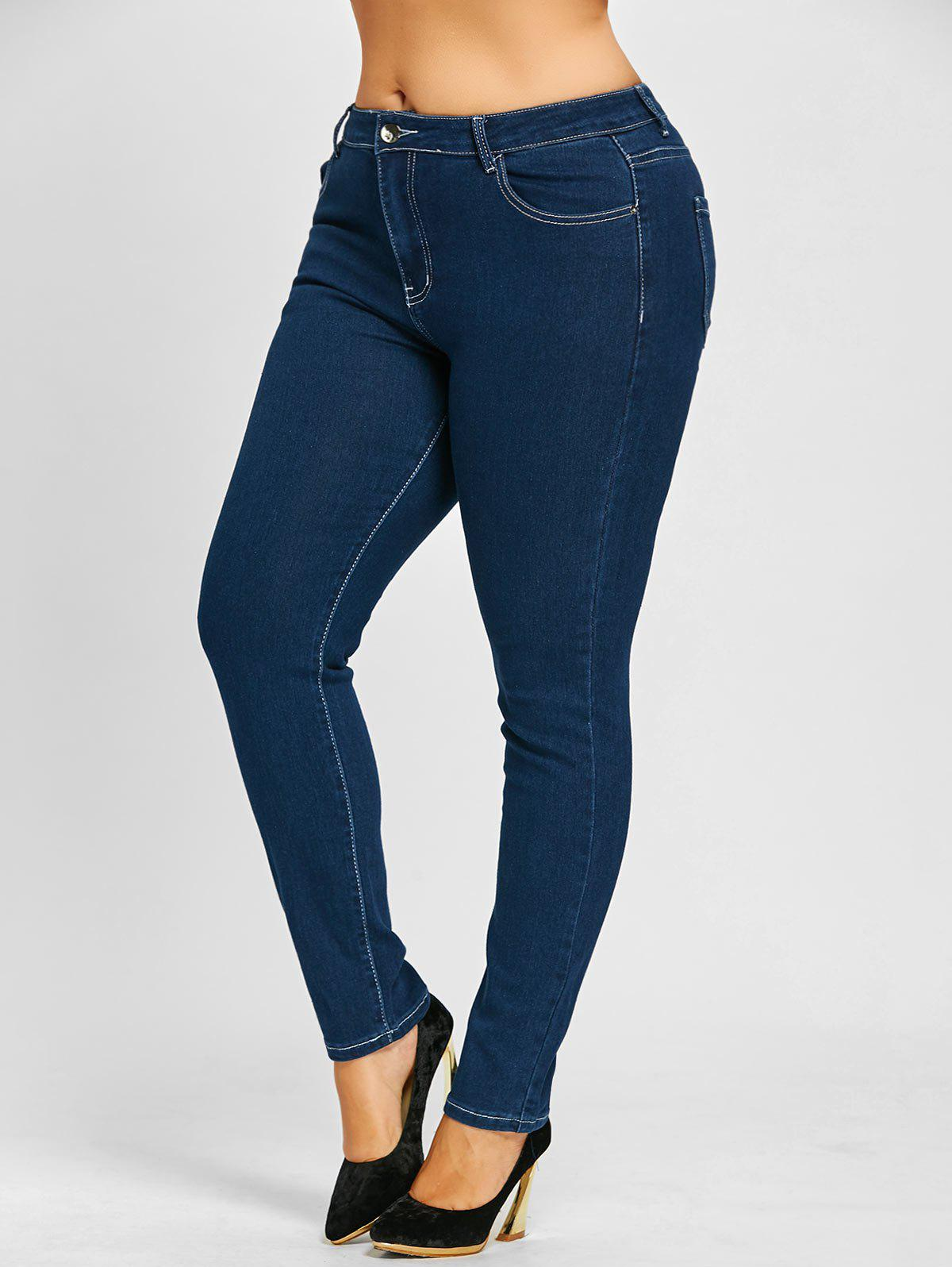 Plus Size Zip Up Stretch High Rise Jeans - BLUE XL