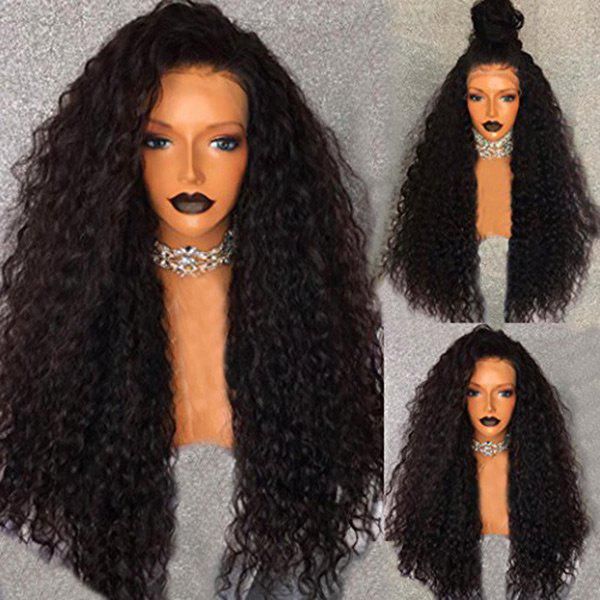 Free Part Shaggy Long Water Wave Human Hair Lace Front Wig - NATURAL BLACK