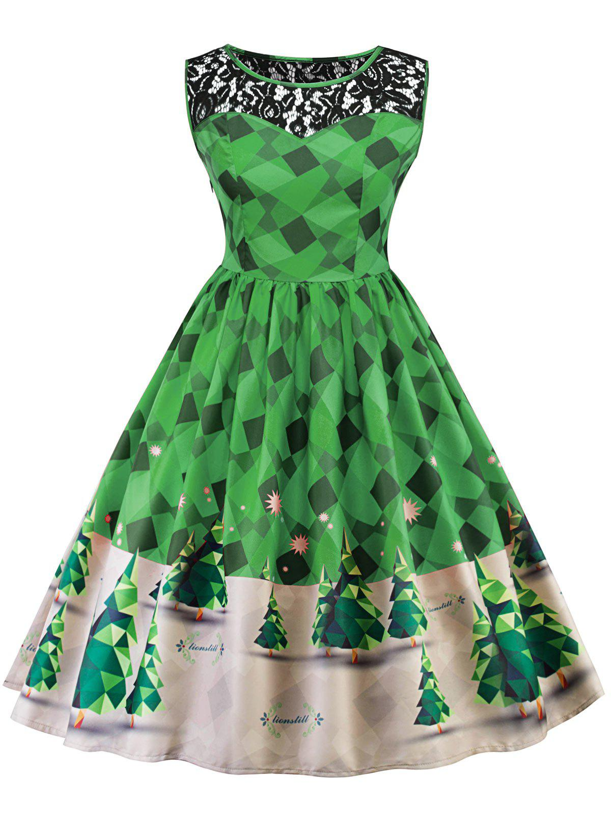 Vintage Lace Insert Christmas Pin Up Skater Dress vintage color block floral pin up skater dress