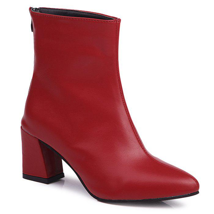 Mid Heel Short Boots - RED 38