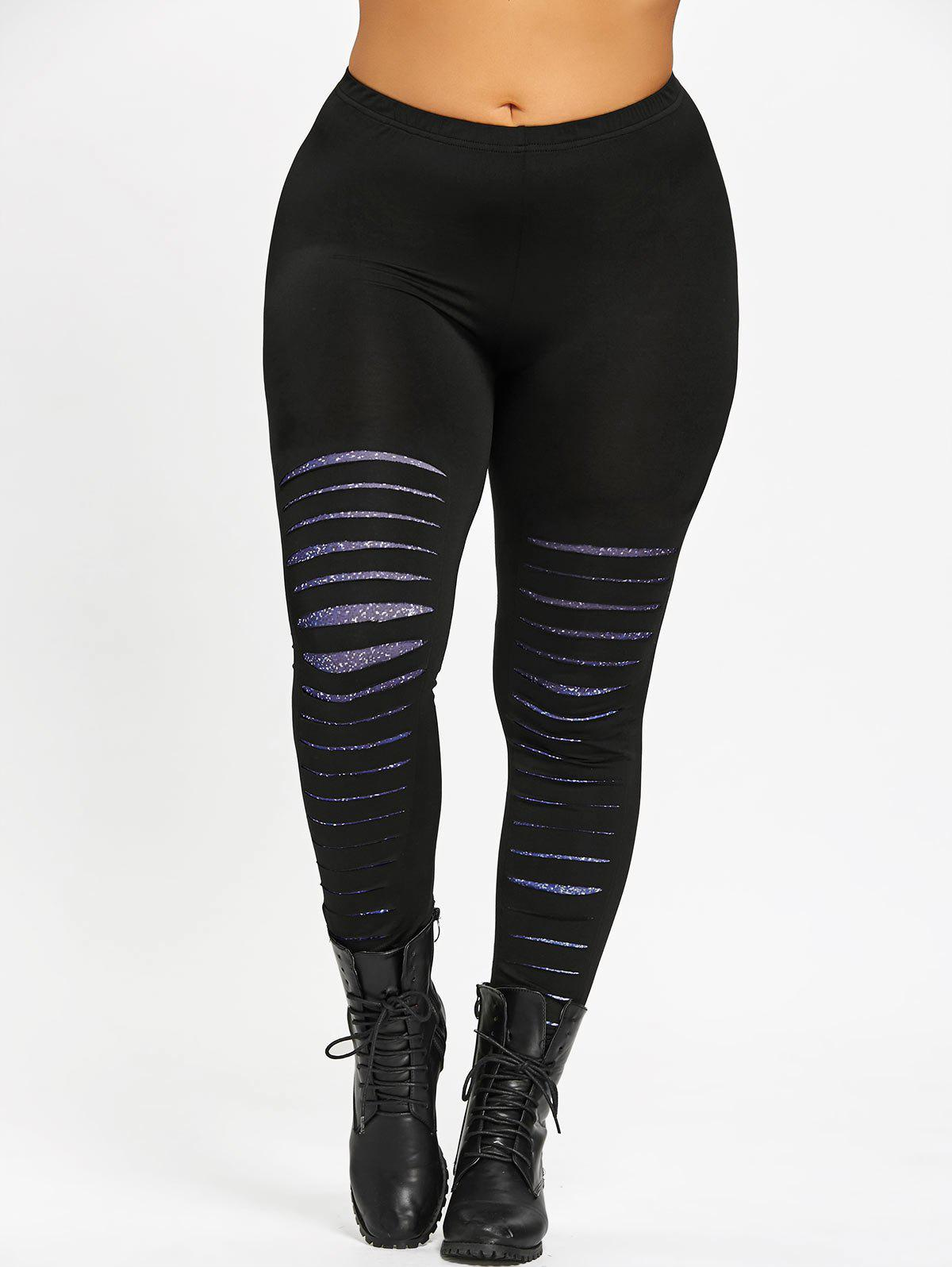 Plus Size Galaxy Ripped Skinny Leggings - BLACK 3XL