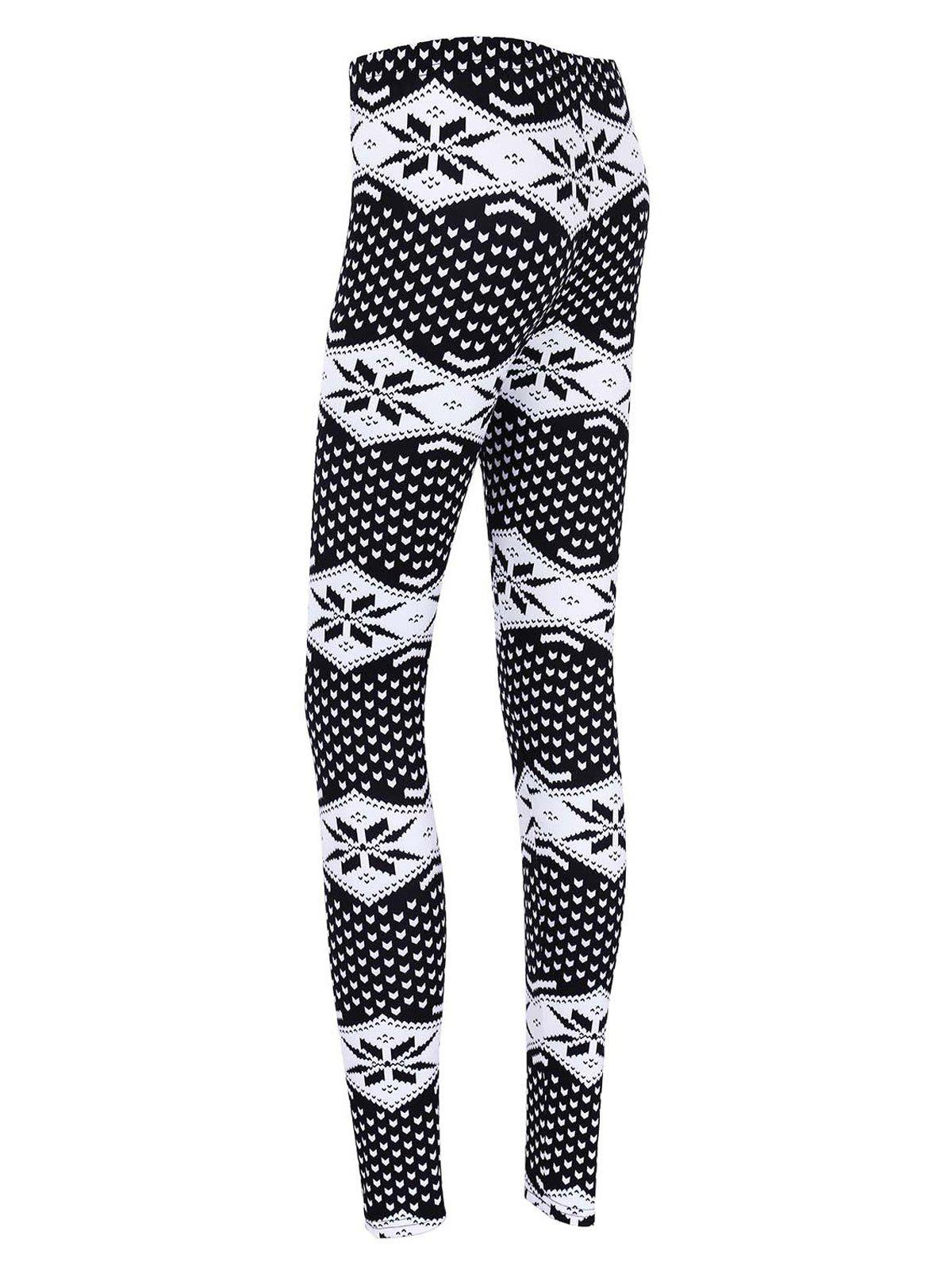 Skinny Snowflake Print Christmas Leggings - BLACK XL