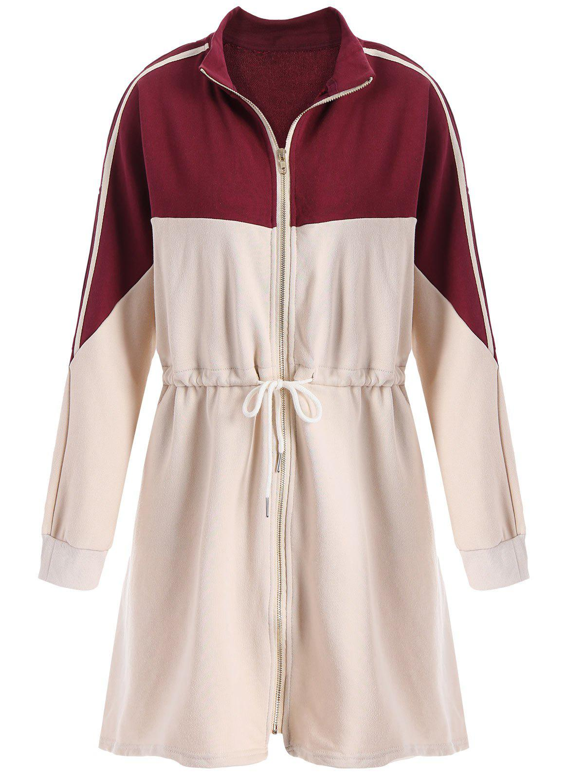 Plus Size Drawstring Contrast  Long Zip Up Coat - BURGUNDY 5XL