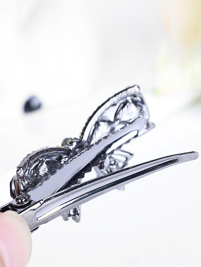 Retro Bowknot Rhinestone Embellished Artificial Gem Hairpin - GRAY