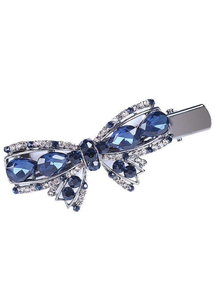Retro Bowknot Rhinestone Embellished Artificial Gem Hairpin - BLUE