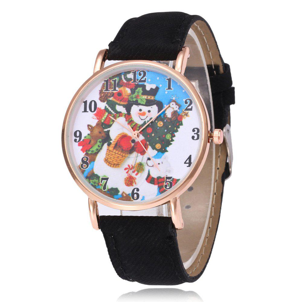 Christmas Snowman Face Faux Leather Watch - BLACK