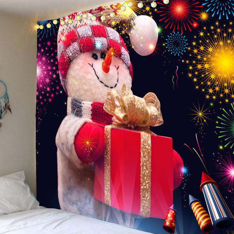 Wall Art Fireworks Christmas Snowman Printed Tapestry - COLORFUL W91 INCH * L71 INCH