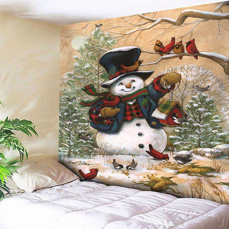 Christmas Snowman Pattern Wall Decor Tapestry christmas tree snowman printed wall tapestry