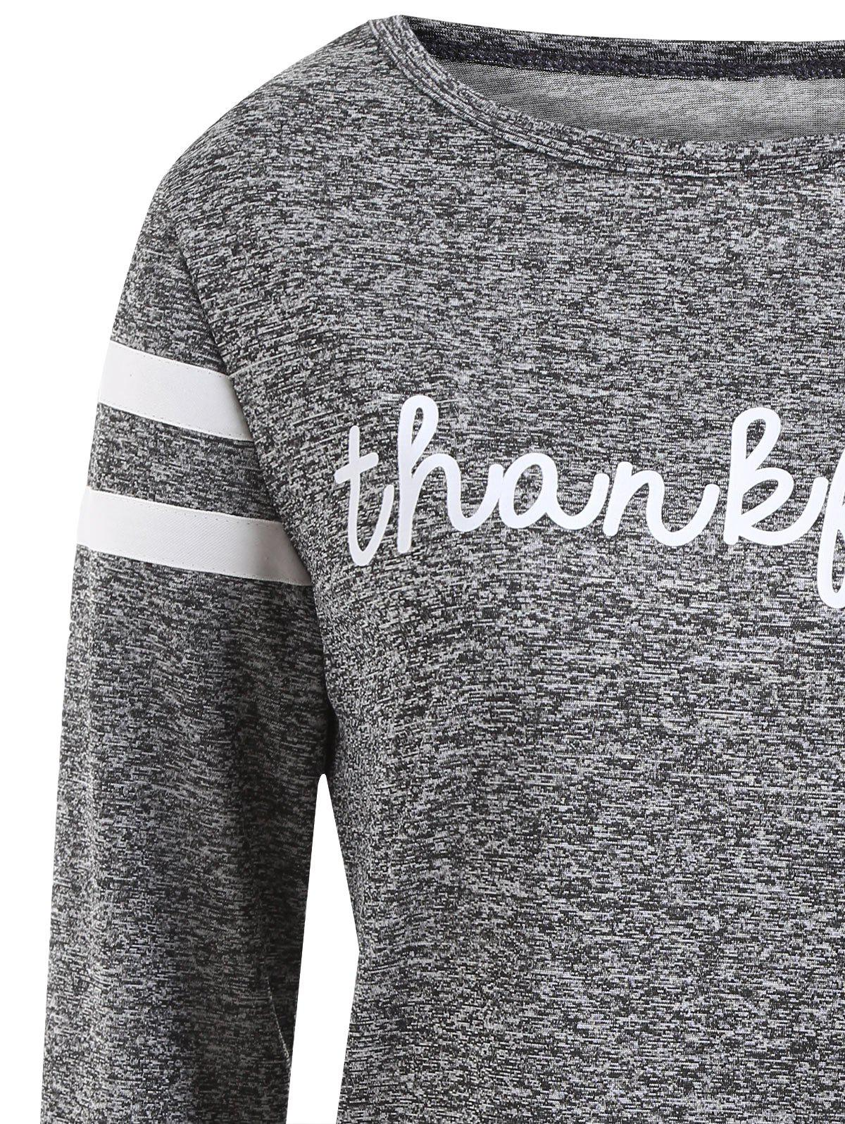 Thanksgiving Letter Print Thankful Top - GRAY S