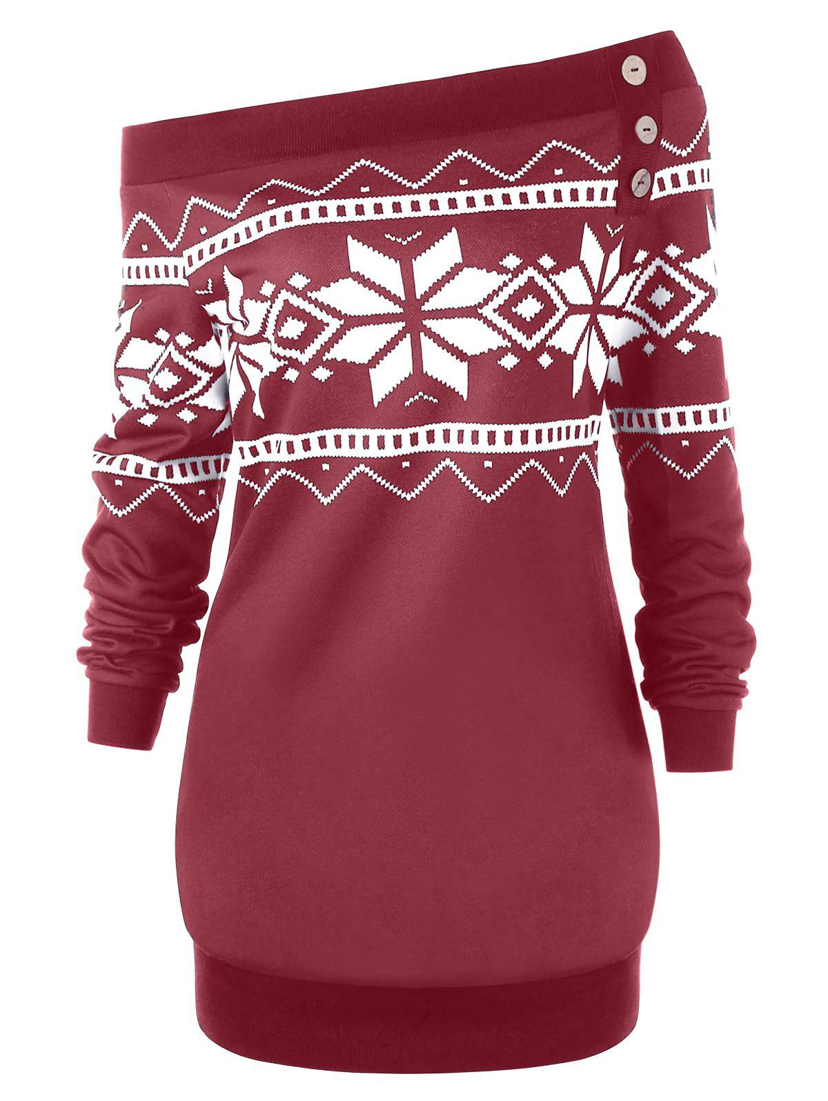 Plus Size Snowflake Geometric Skew Neck Pullover Sweatshirt - WINE RED 2XL