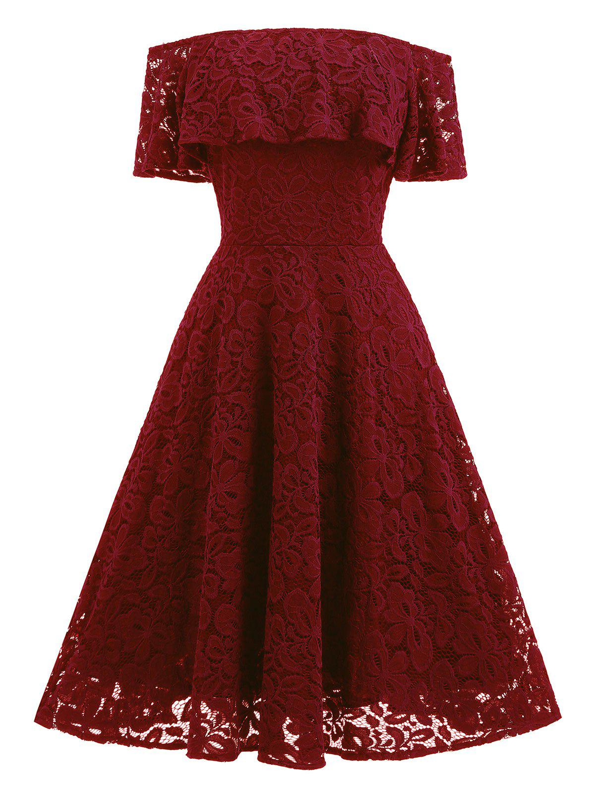 Ruffle Off Shoulder Vintage Lace A Line Dress - WINE RED XL
