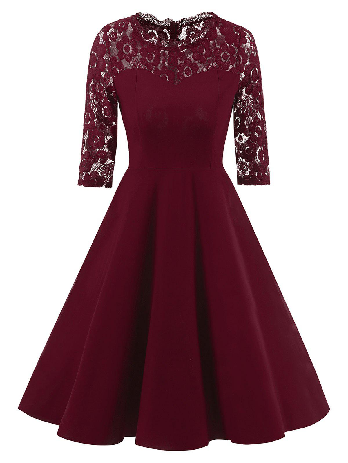 Formal Lace Trim A Line Vintage Dress - WINE RED M