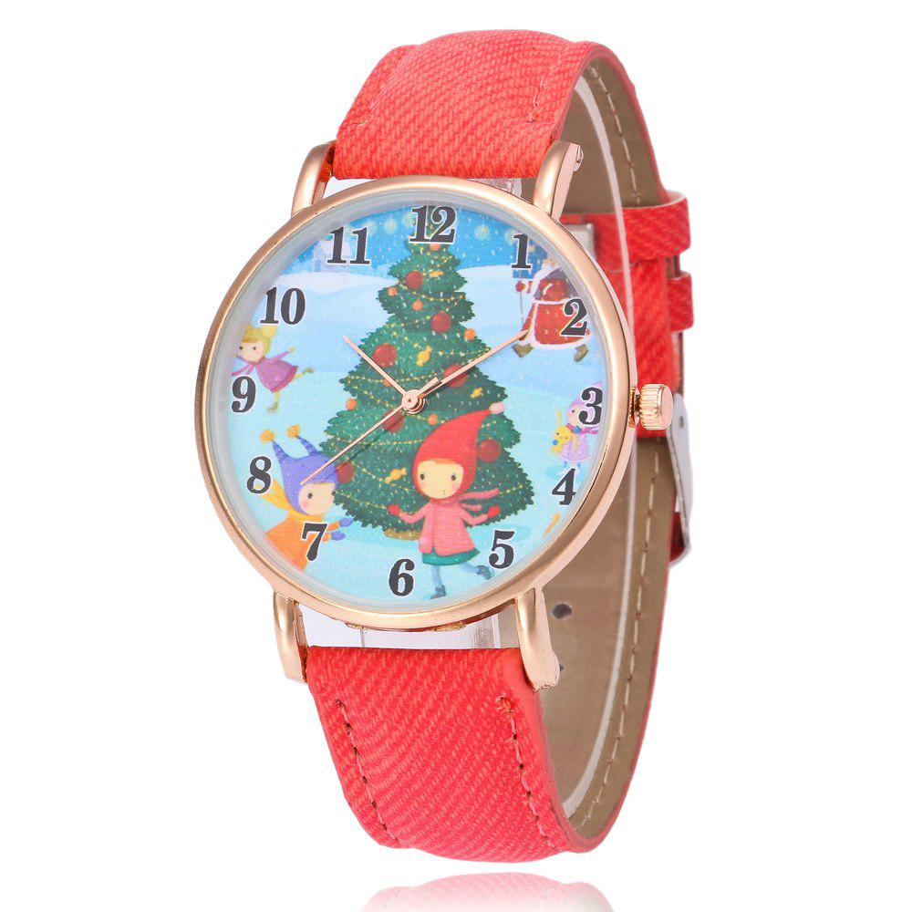 Christmas Tree Kids Face Number Watch - RED