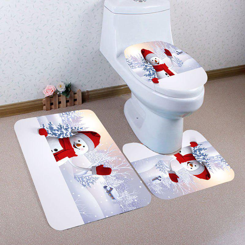 Christmas Snowman Village Pattern 3 Pcs Bathroom Toilet Mat halloween bloody hand pattern 3 pcs bathroom toilet mat