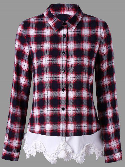 Lace Trim Plaid Button Up Shirt - CHECKED L