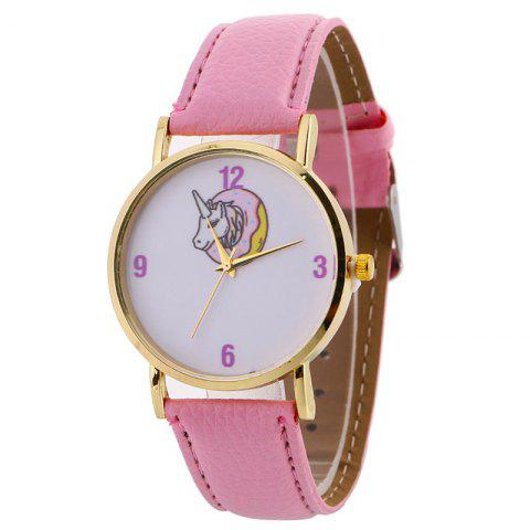 Faux Leather Strap Unicorn Face Watch - PINK
