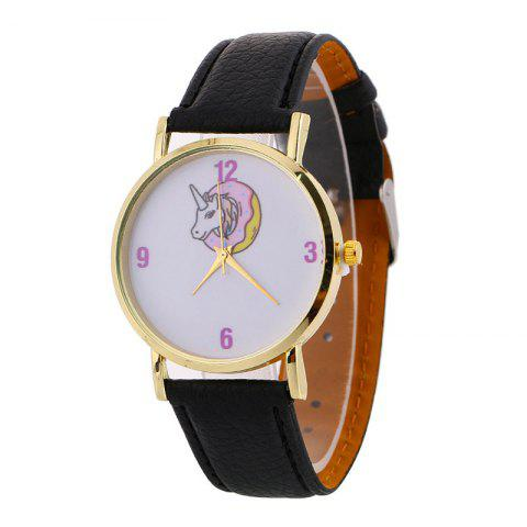 Faux Leather Strap Unicorn Face Watch - BLACK
